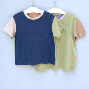 조각 반소매Short sleeve color block T2colors